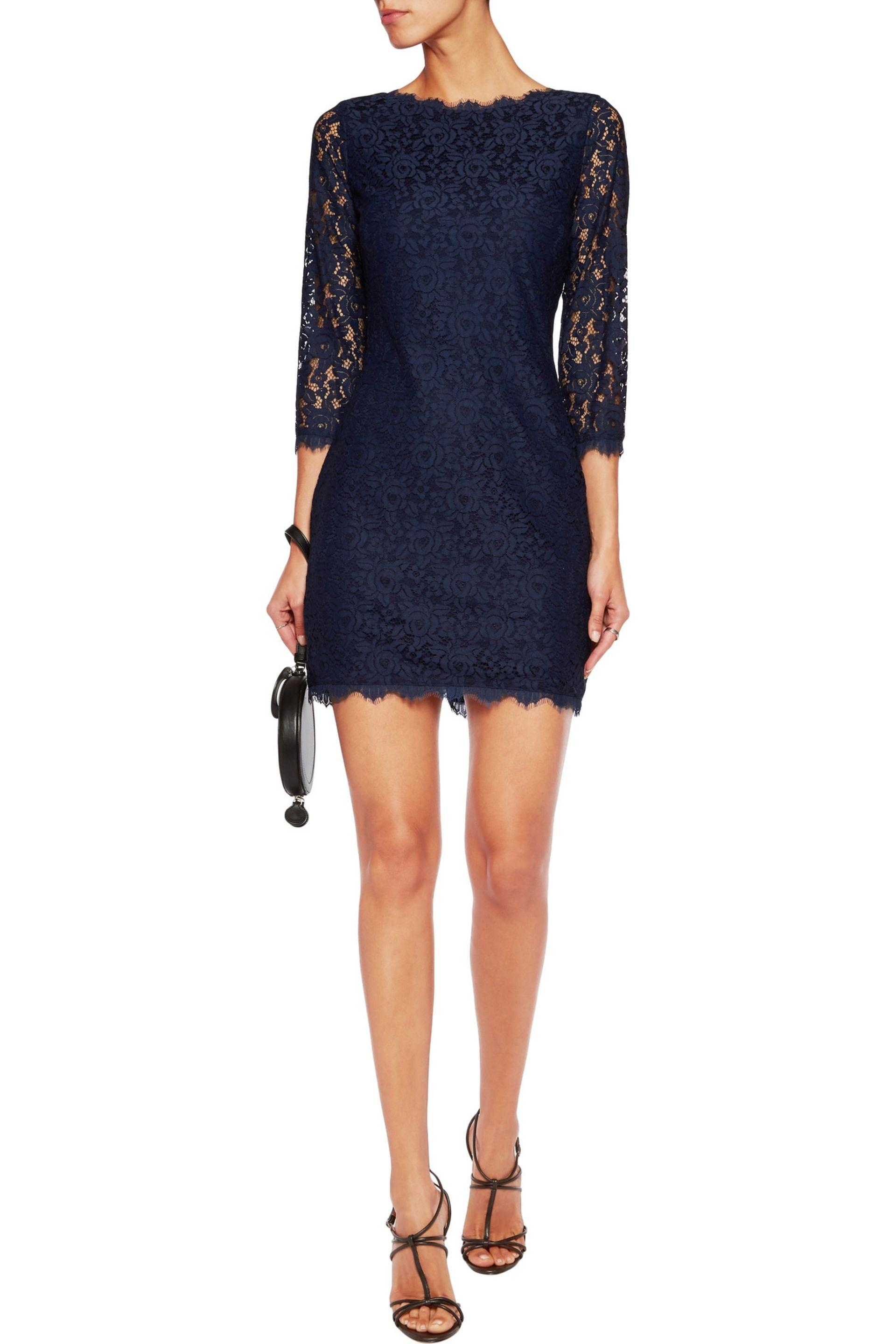 a8113b2cc9930 Diane von Furstenberg - Woman Colleen Corded Lace Mini Dress Midnight Blue  - Lyst. View fullscreen