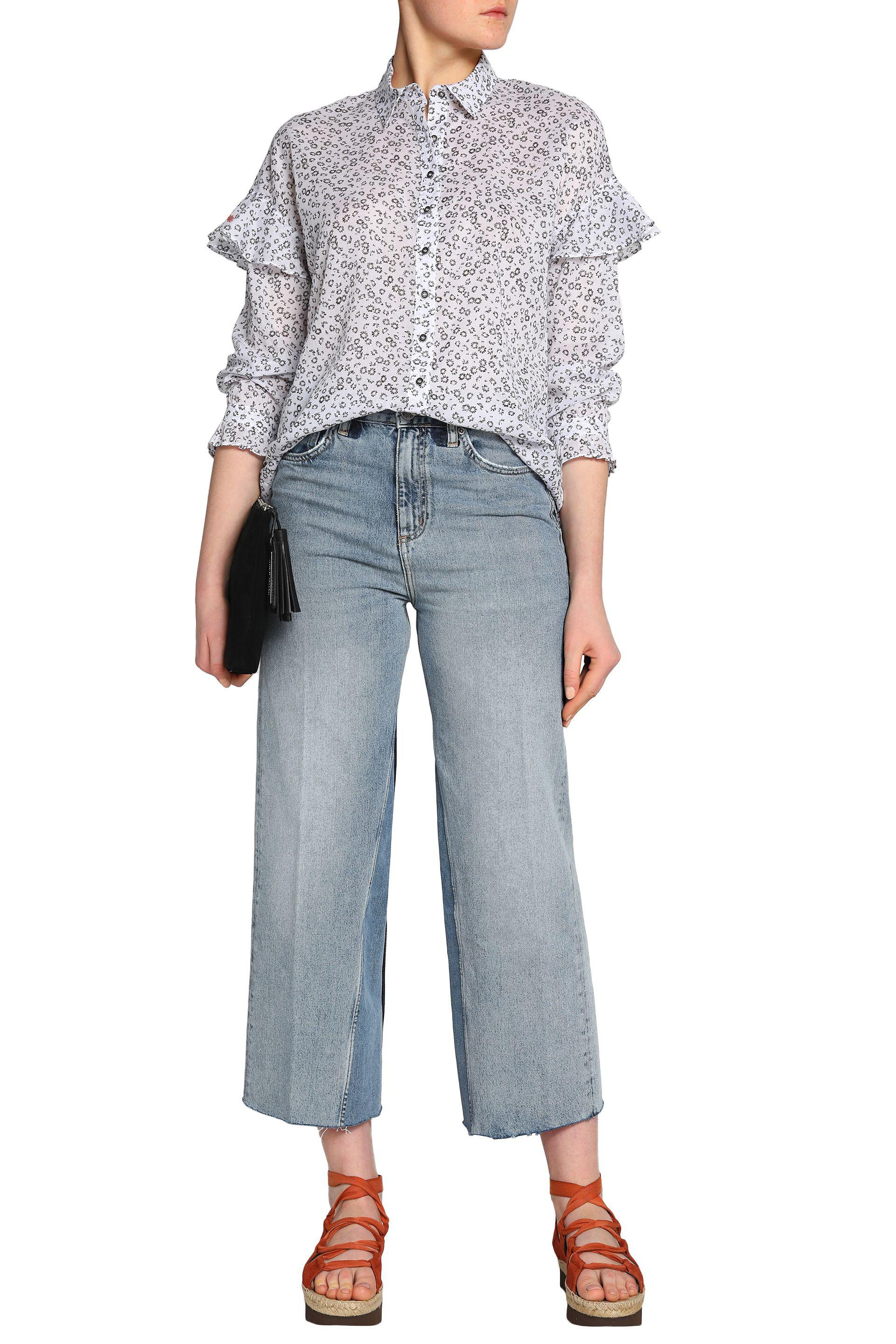 M.i.h Jeans Woman Baylis Ruffle-trimmed Floral-print Cotton-gauze Shirt White Size L Mih Jeans Clearance Cheap Price Sale Shop Offer 2018 New Outlet 2018 New Huge Surprise Cheap Price 8Rlgu2