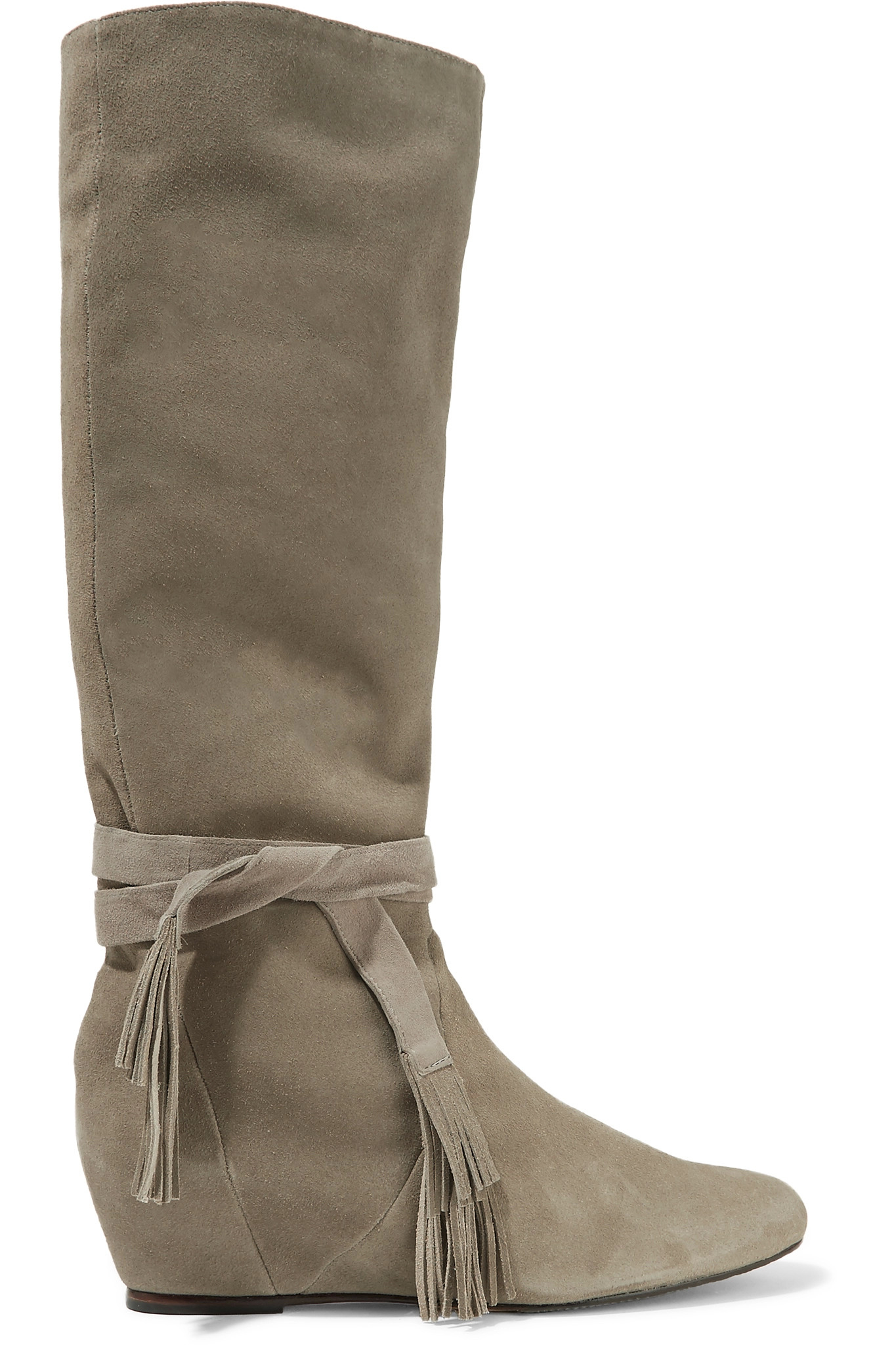 schutz tasseled suede knee boots lyst