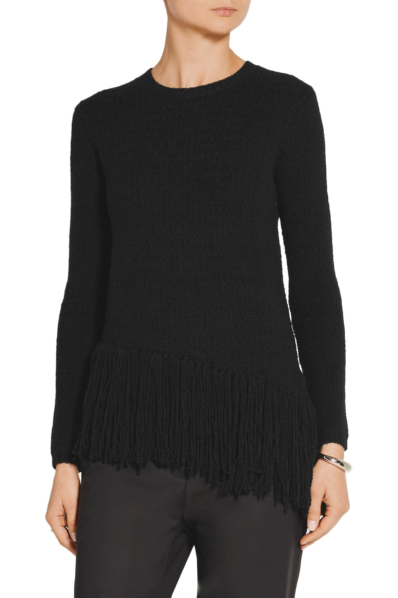 Theory Hudina Fringed Stretch Merino Wool-blend Sweater in Black ...