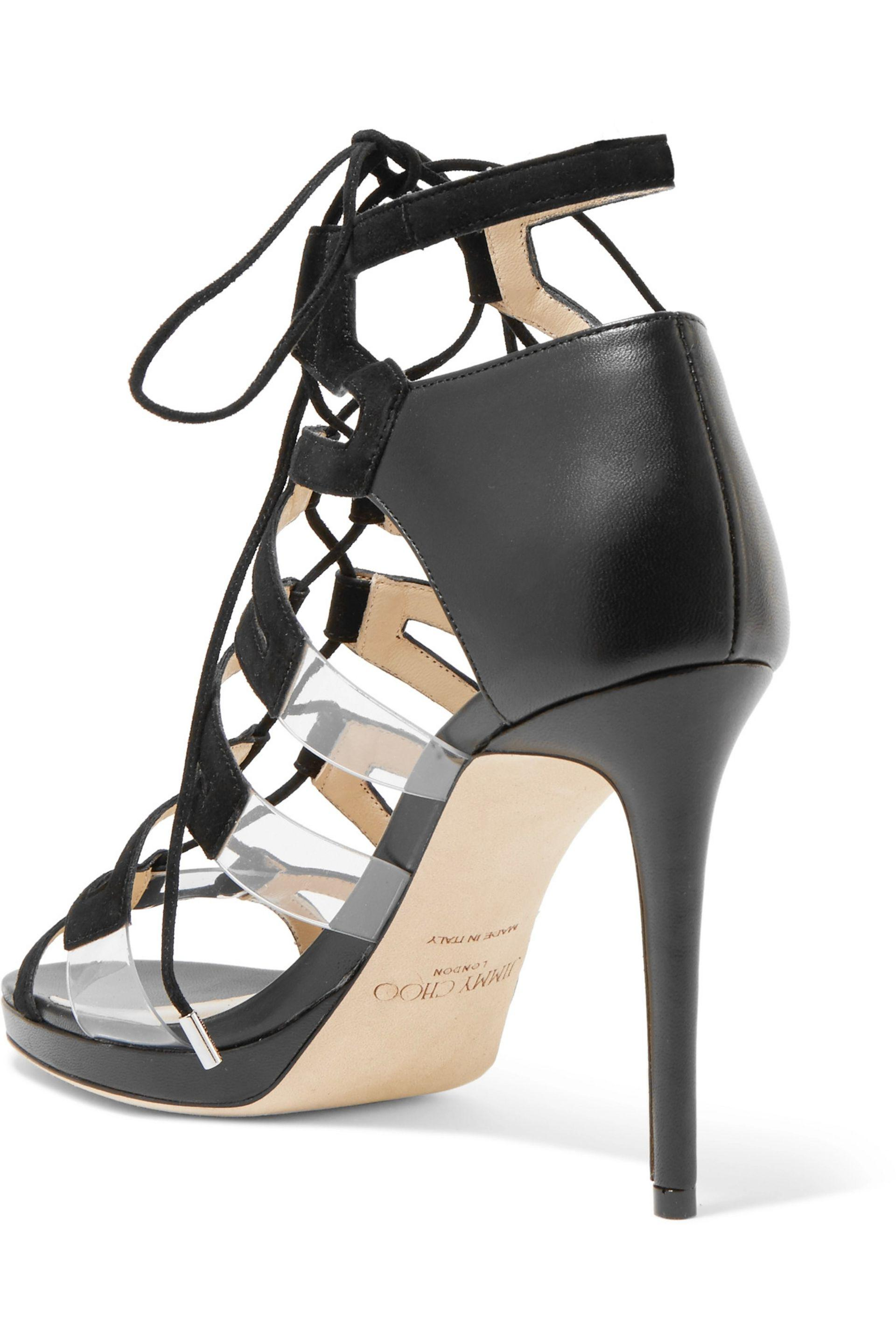 Jimmy Choo | Black Dani Lace-up Leather, Suede And Acrylic Sandals | Lyst.  View Fullscreen