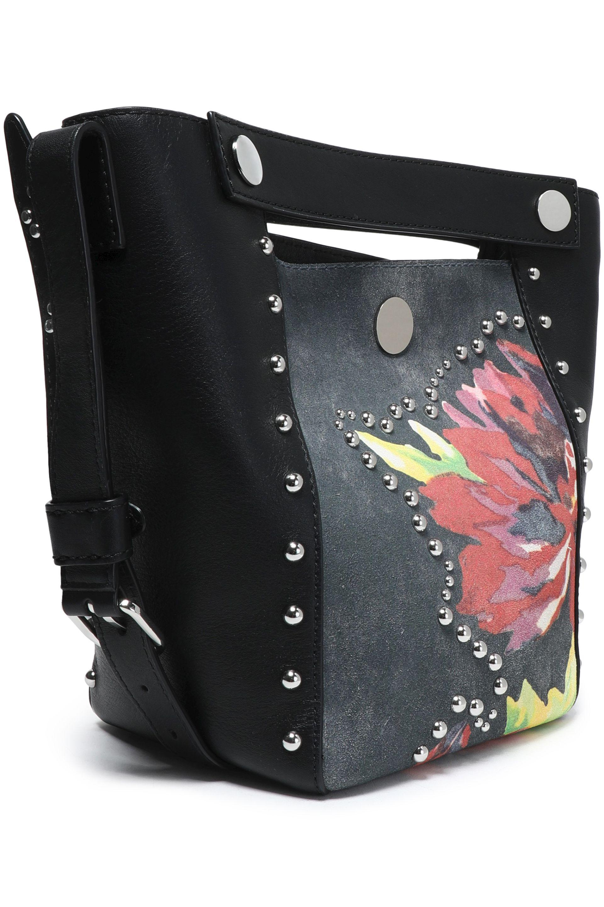3.1 Phillip Lim Woman Studded Paneled Floral-print Leather Bucket Bag Black Size 3.1 Phillip Lim