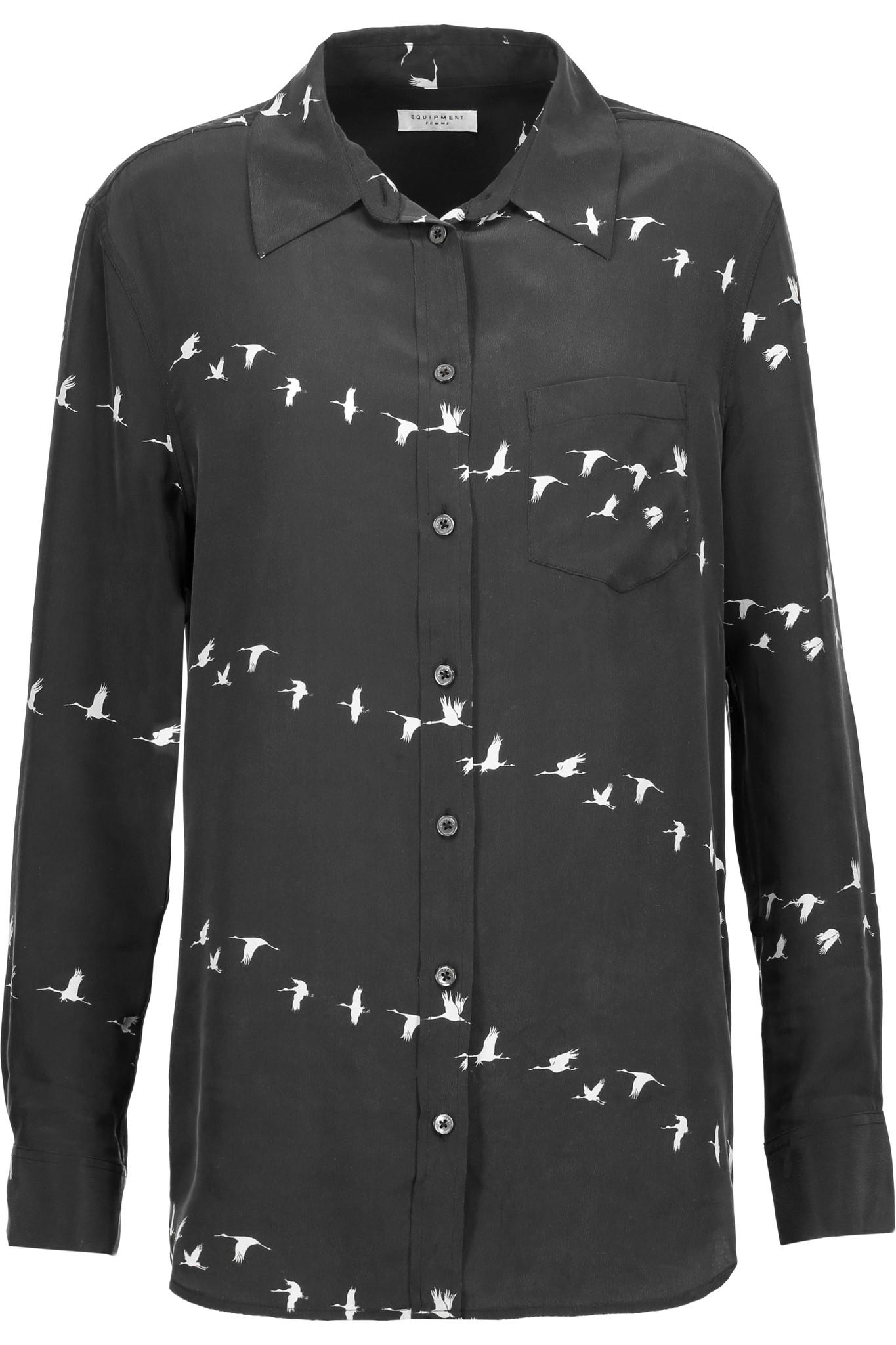 Equipment reese printed washed silk shirt in black lyst for Equipment black silk shirt