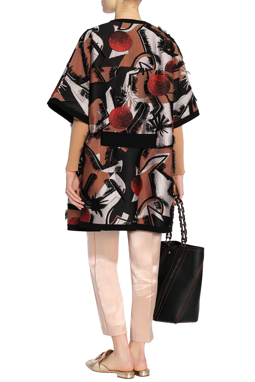 Roksanda Woman Frayed Silk-blend Jacquard Coat Black Size 10 Roksanda Ilincic Sale Prices Pay With Visa Clearance From China G0dD2ede6M