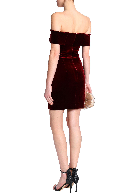 Lyst Nicholas Off The Shoulder Velvet Mini Dress In Red Clarette Wedges Coraline Black Gallery