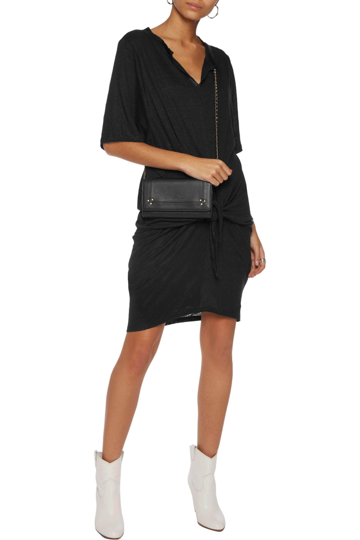 b56ab208c9 IRO Arwen Tie-front Linen-jersey Dress in Black - Lyst