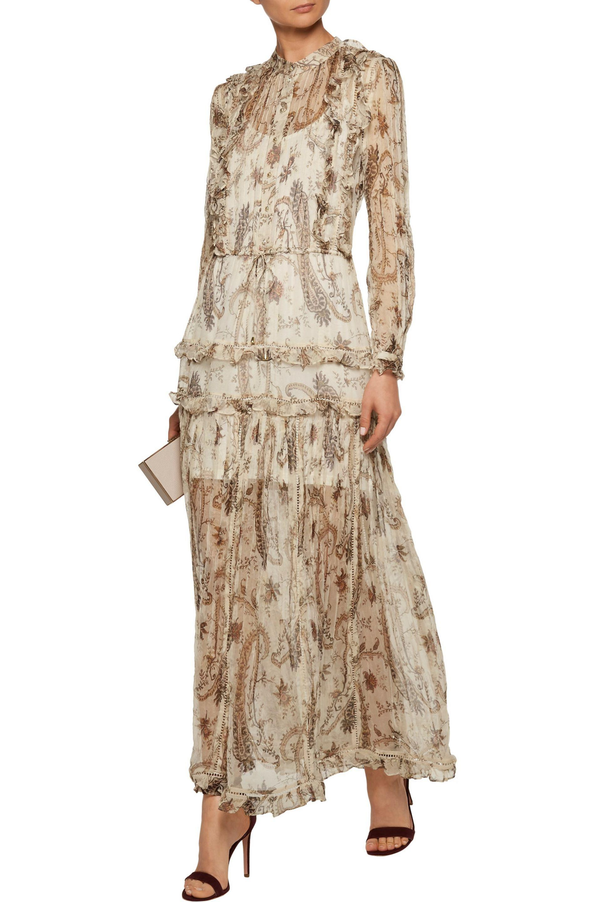 Zimmermann Synthetic Mischief Ruffled Printed Georgette Maxi Dress in Ecru (Natural)