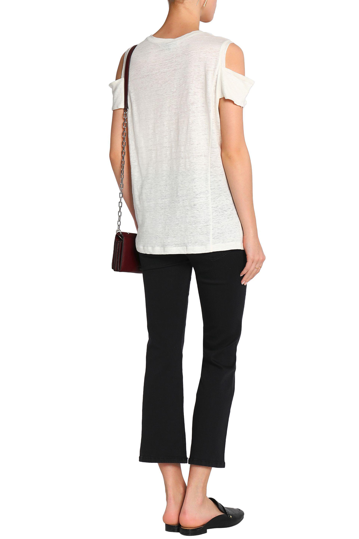 Halston Heritage Woman Cold-shoulder Slub Linen-jersey Top Ivory Size L Halston Heritage Low Cost Online VajxBbImM9