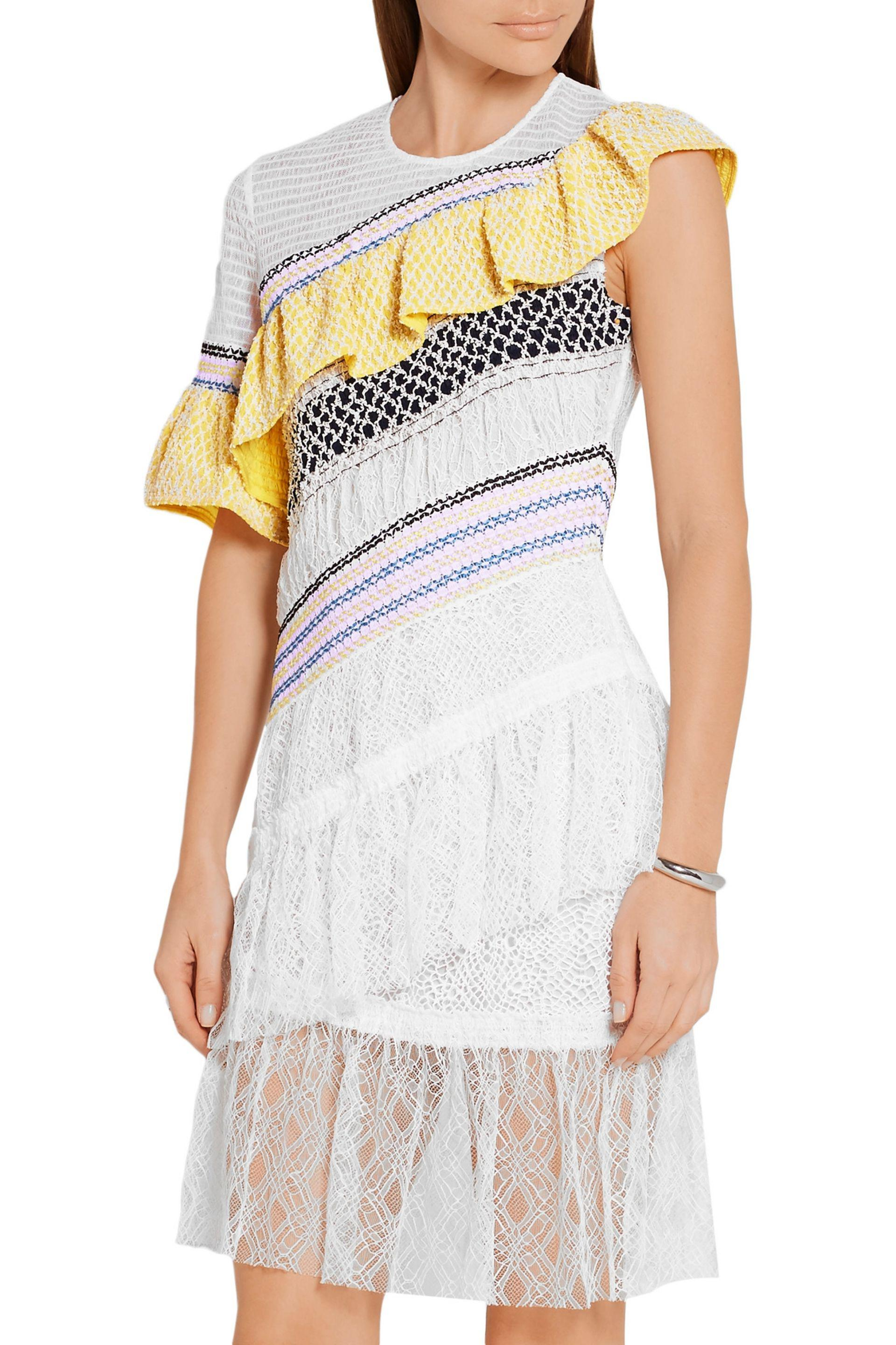 Peter Pilotto - White Octave Ruffled Tulle And Corded Lace Mini Dress -  Lyst. View Fullscreen