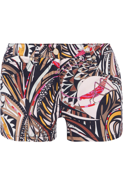 Emilio Pucci. Women's Natural Printed Denim Shorts