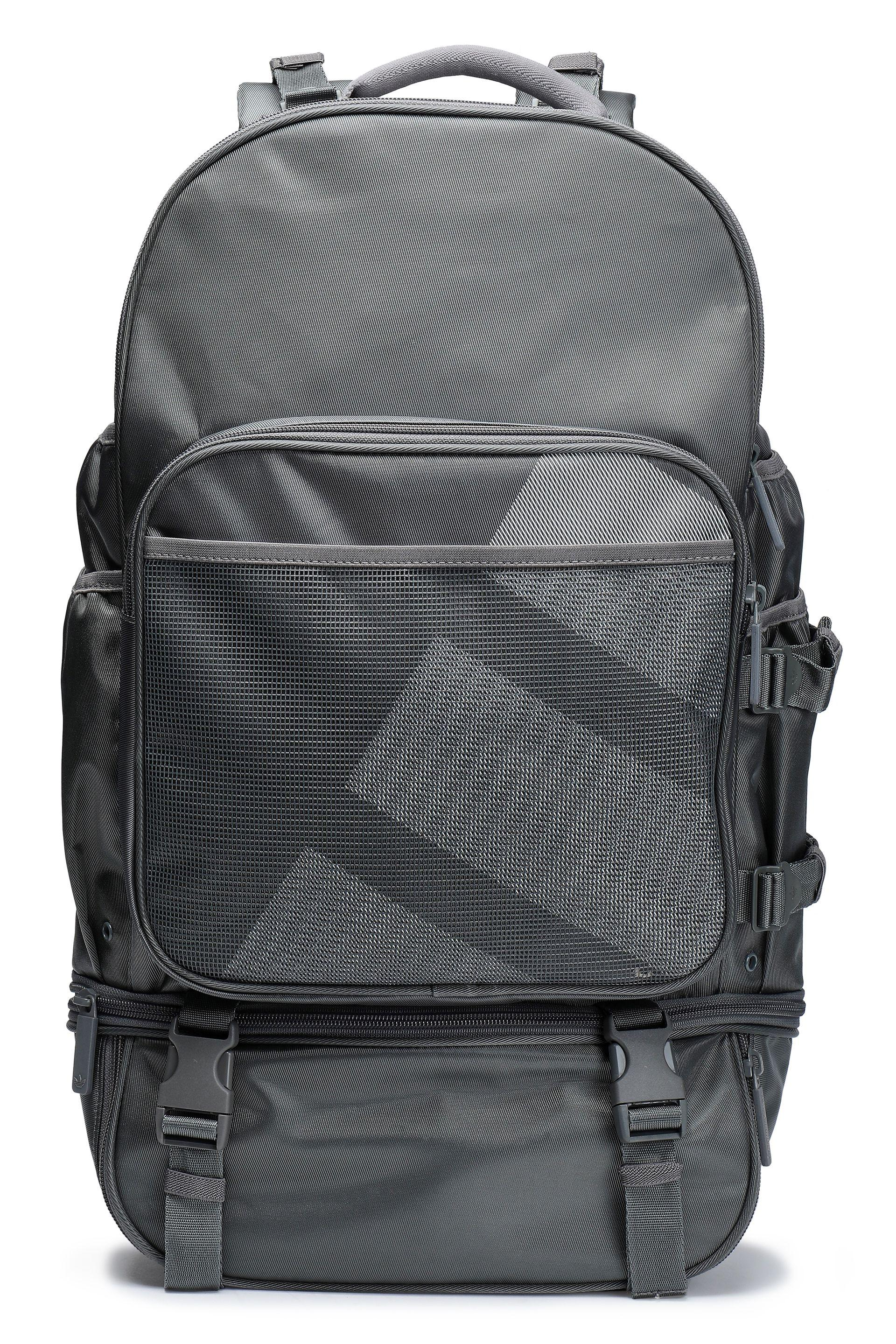 adidas Originals. Women s Gray Woman Mesh-paneled Printed Twill Backpack  Grey cc50f7bffc