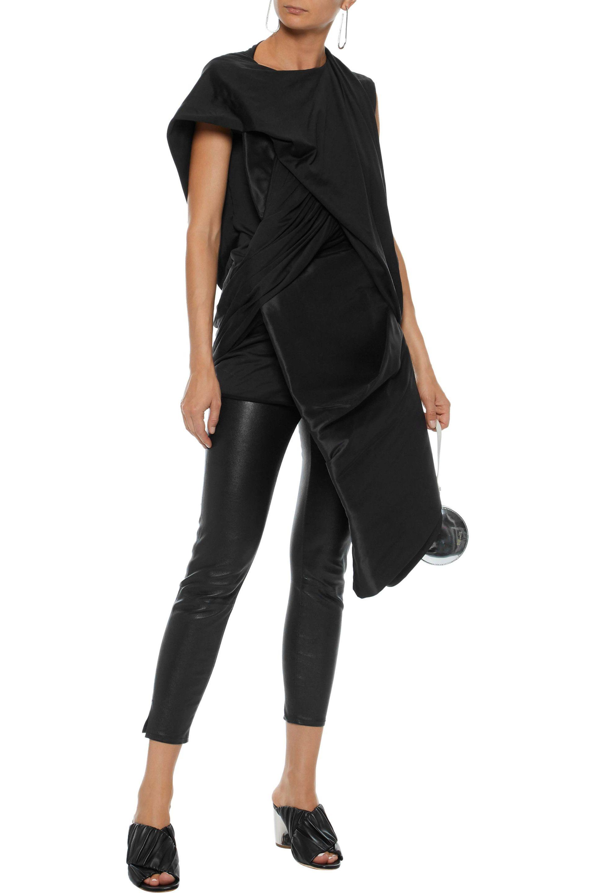961570c362dce Rick Owens - Woman Stomper Asymmetric Satin-paneled Silk-jersey Top Black -  Lyst. View fullscreen