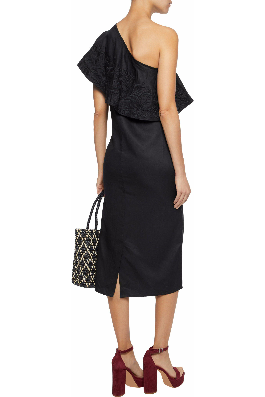 Mara Hoffman Woman One-shoulder Embroidered Faille Midi Dress Black Size L Mara Hoffman FSx80BNl