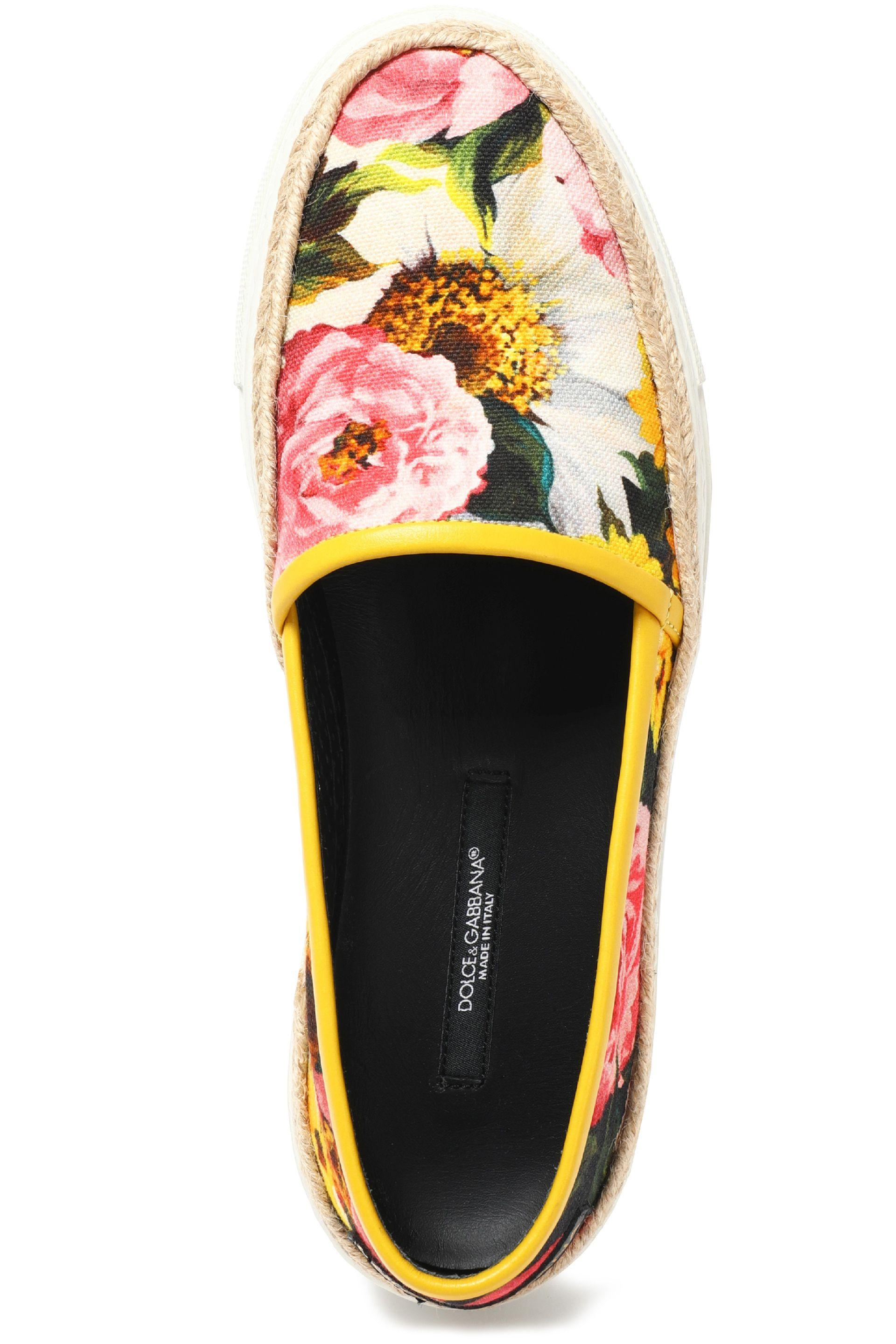 Dolce Amp Gabbana Woman Floral Print Cotton Blend Canvas