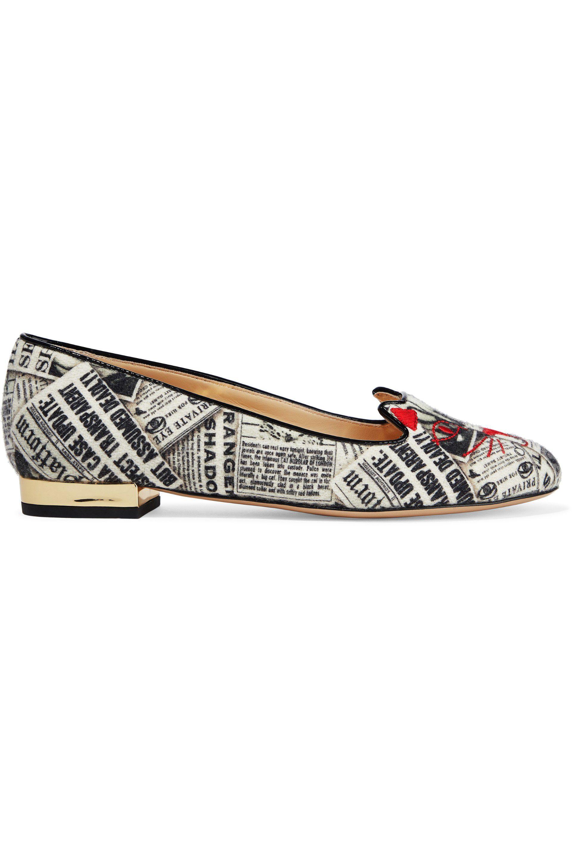 Charlotte Olympia Woman Kitty Embroidered Metallic Woven Ballet Flats Gunmetal Size 38 xy1wSoor