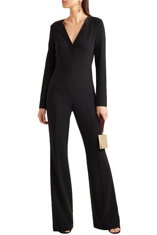 5a86d57453c5 ... Woman Satin-trimmed Crepe Jumpsuit Black - Lyst. View fullscreen