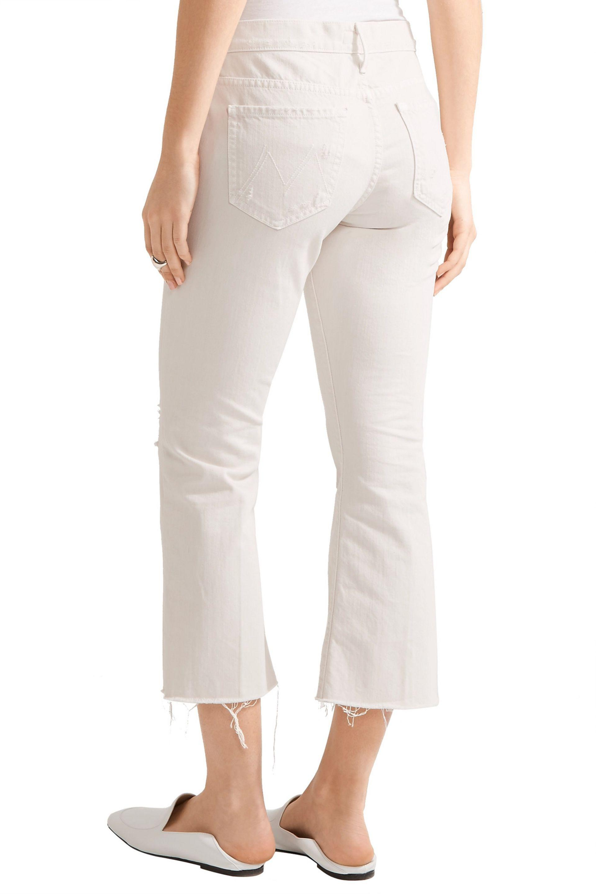 Sale Affordable Mother Woman The Nomad Cropped Distressed Mid-rise Flared Jeans Ecru Size 29 Mother Sale Pay With Paypal For Sale jZ6AZMW