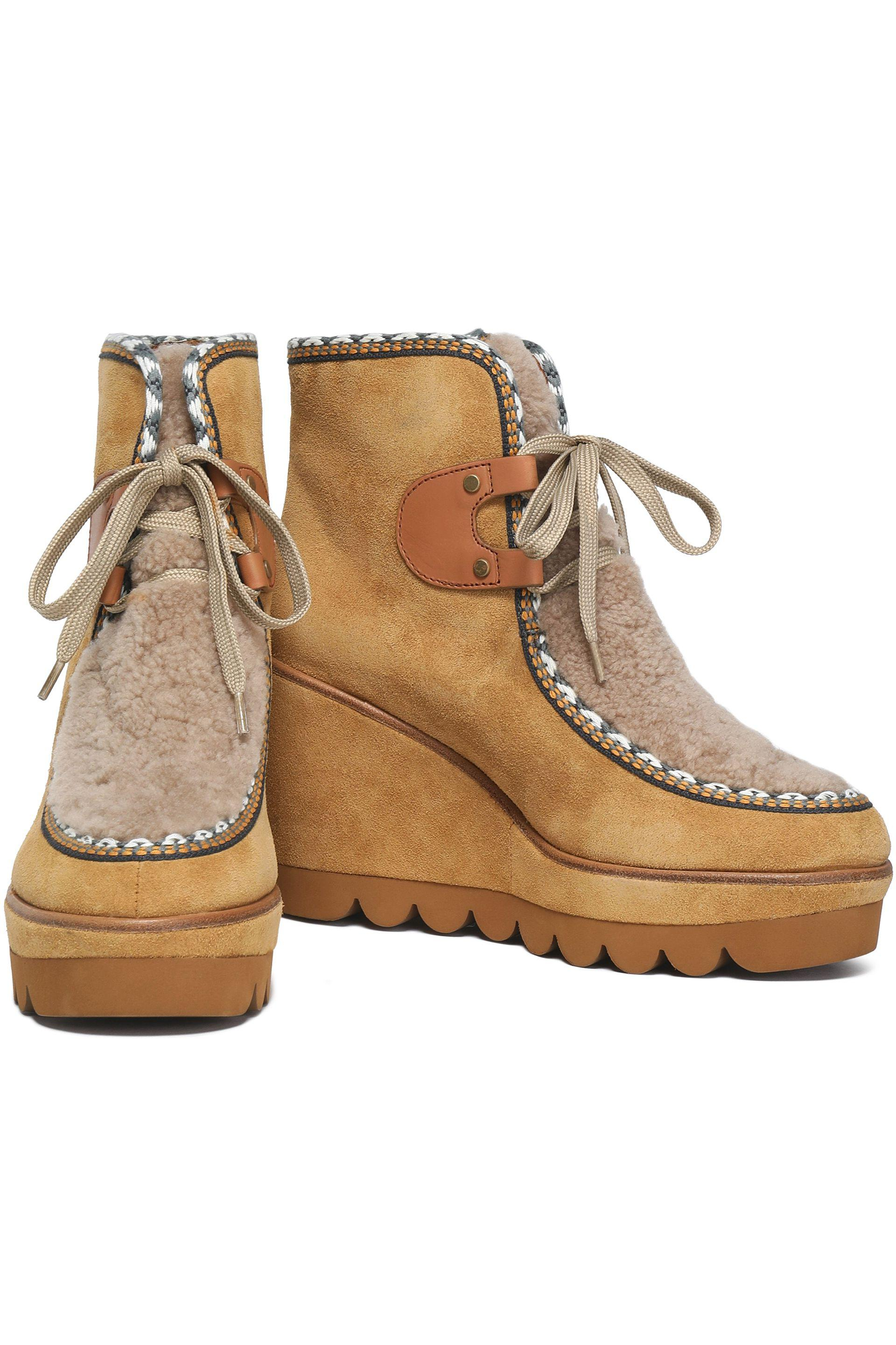 784e02d2275 See By Chloé Natural Shearling-paneled Suede Wedge Ankle Boots
