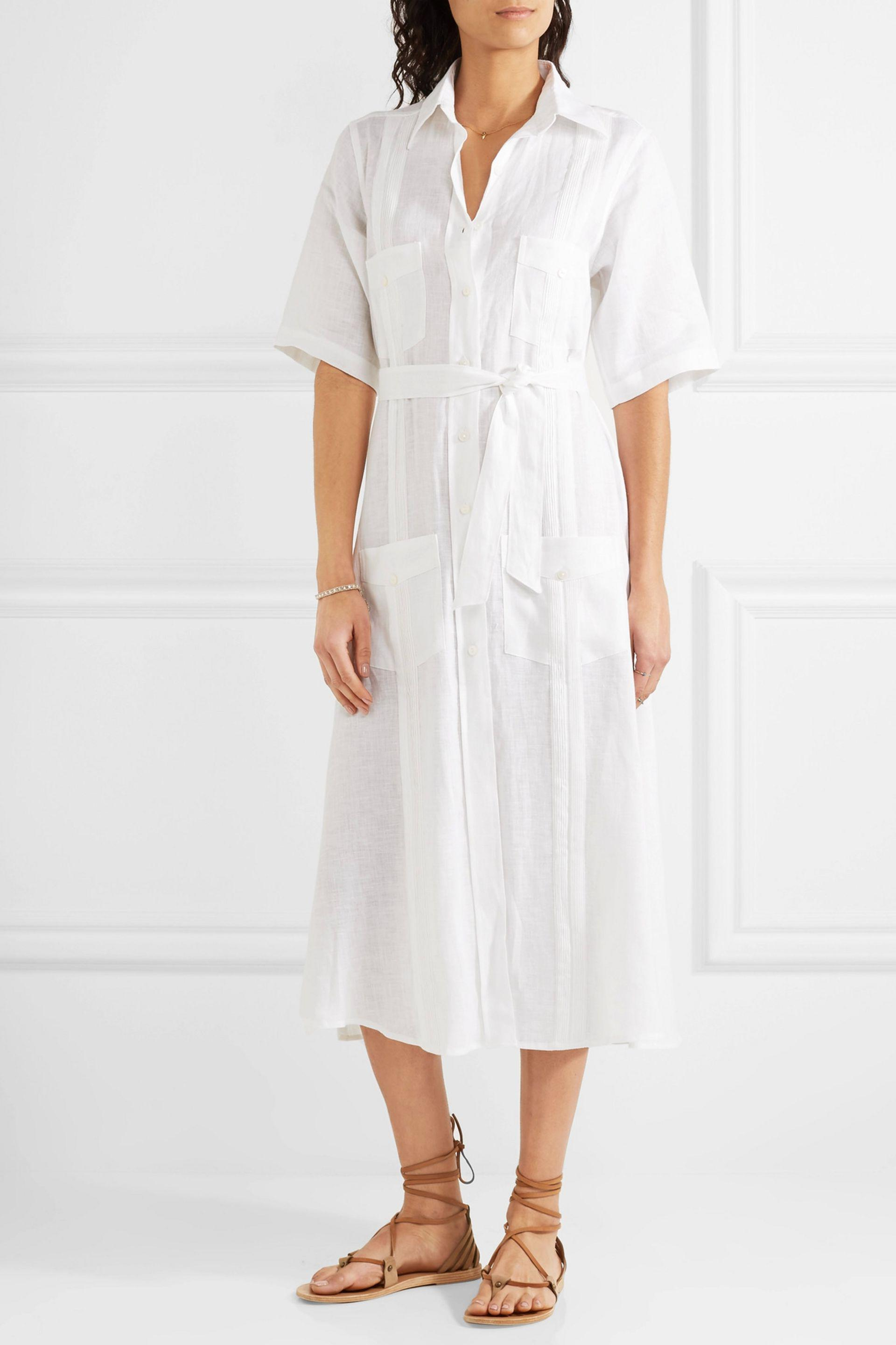 923262159c Miguelina Guayabera Linen Dress in White - Lyst