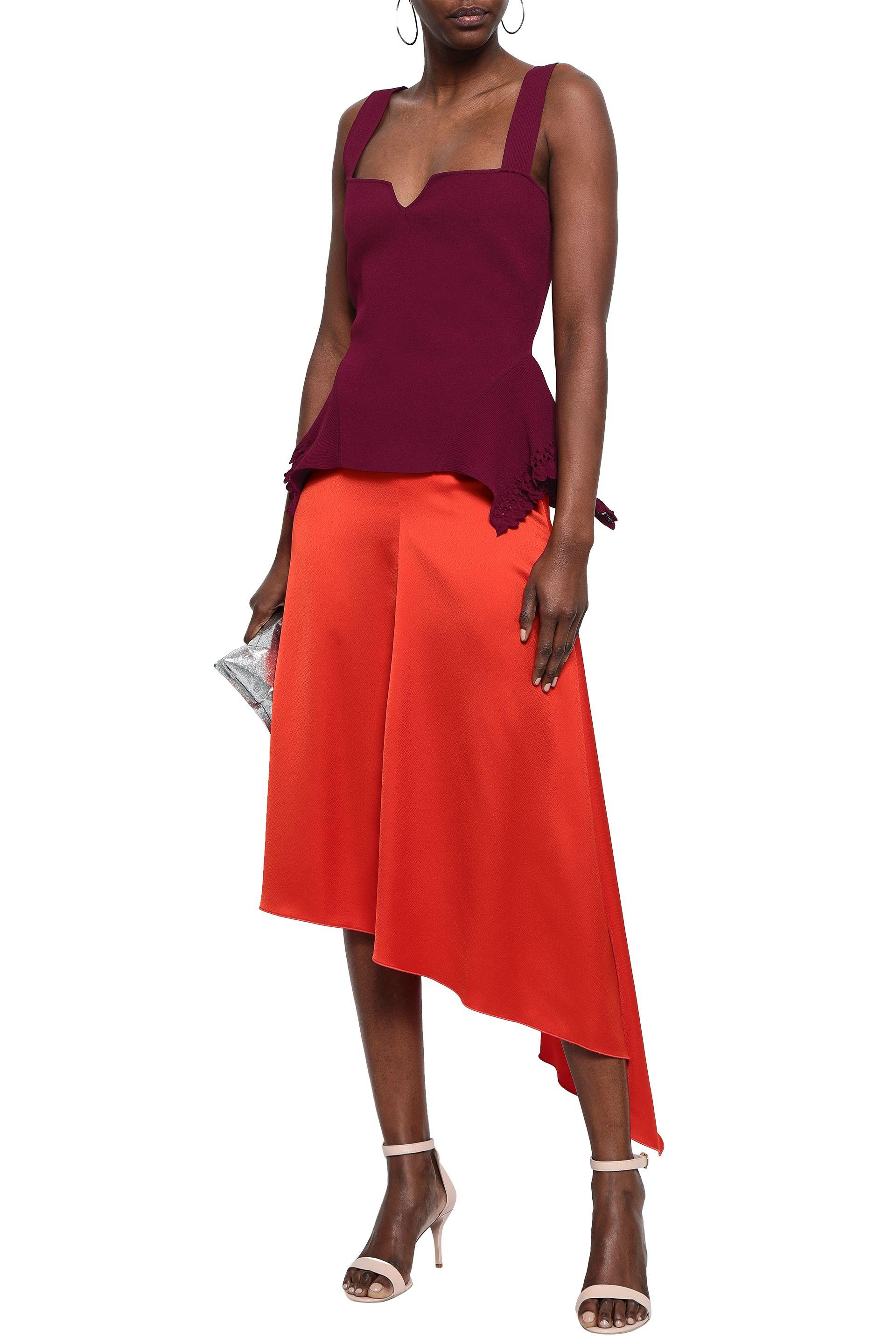 Roland Mouret Lace Woman Ribbed-knit Peplum Top Plum in Red