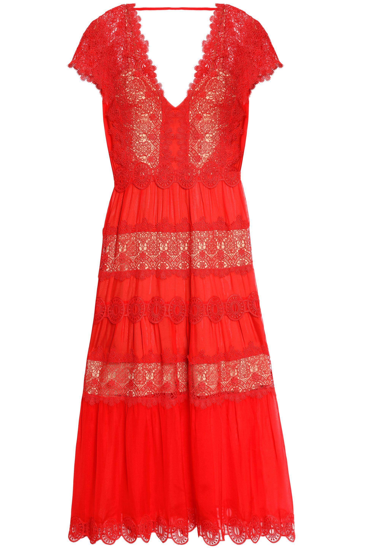 Lyst - Catherine Deane Guipure Lace-paneled Silk-chiffon Midi Dress ...