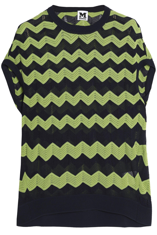 M Missoni. Women's Geometric Design Jacquard-knit Top Sage Green