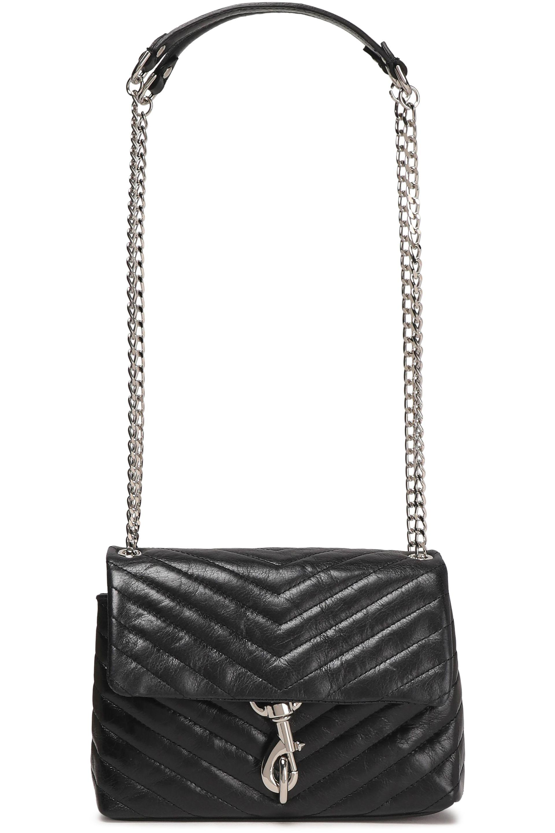 a50eeb66d934b Rebecca Minkoff. Women s Woman Chain-trimmed Quilted Leather Shoulder Bag  Black