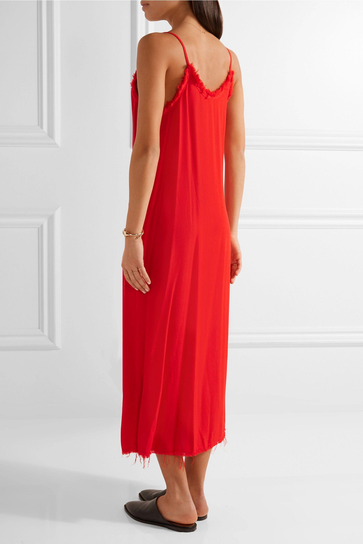 Lyst Raquel Allegra Frayed Textured Crepe Midi Dress In Red