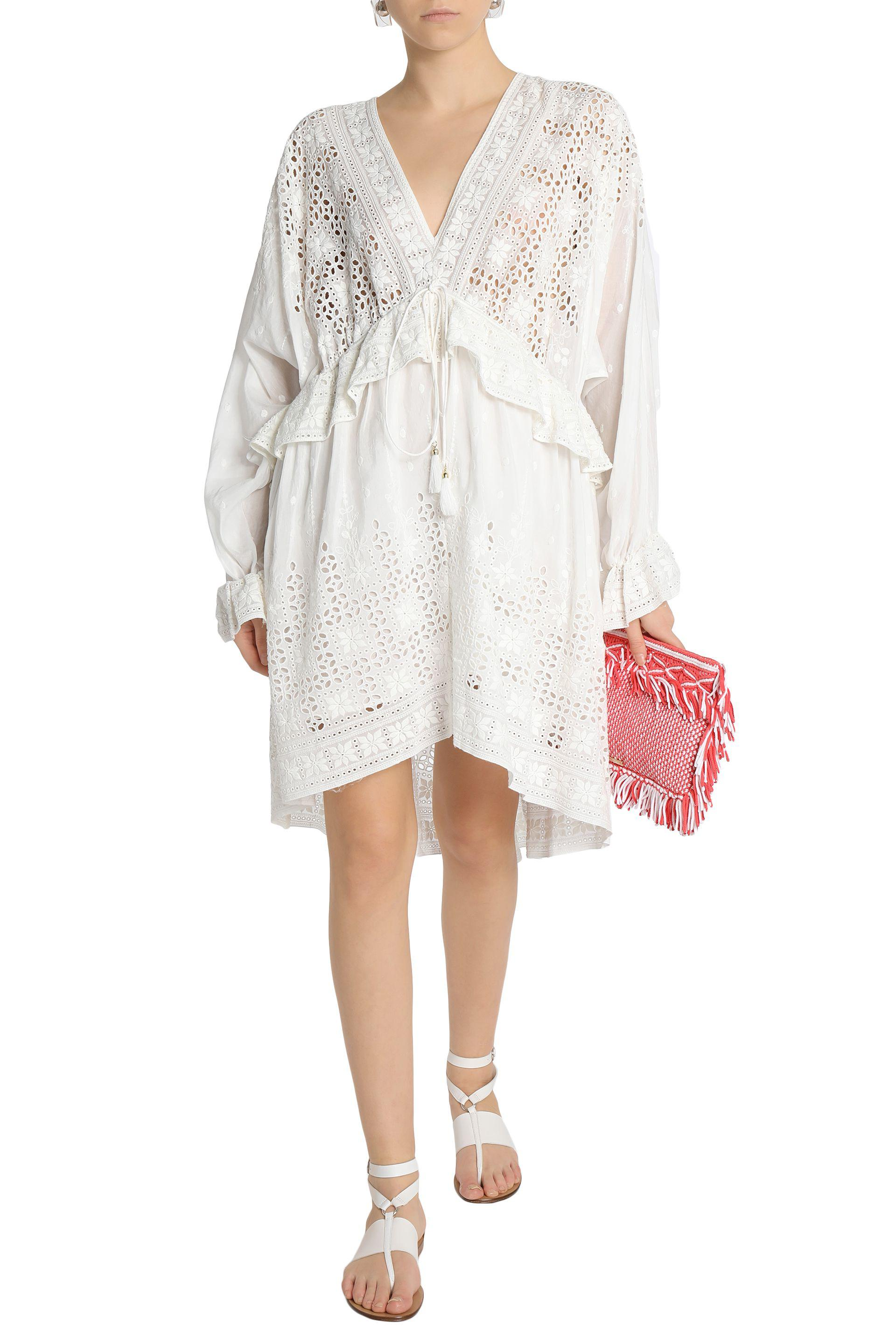 Zimmermann Ruffled Broderie Anglaise Cotton And Silk-blend Dress in White