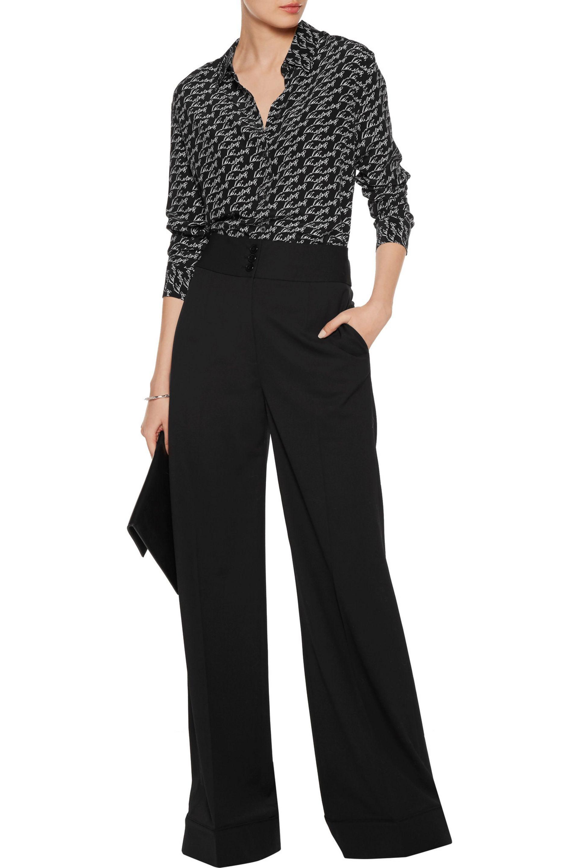 Equipment Houston Wool-blend Wide-leg Pants in Black