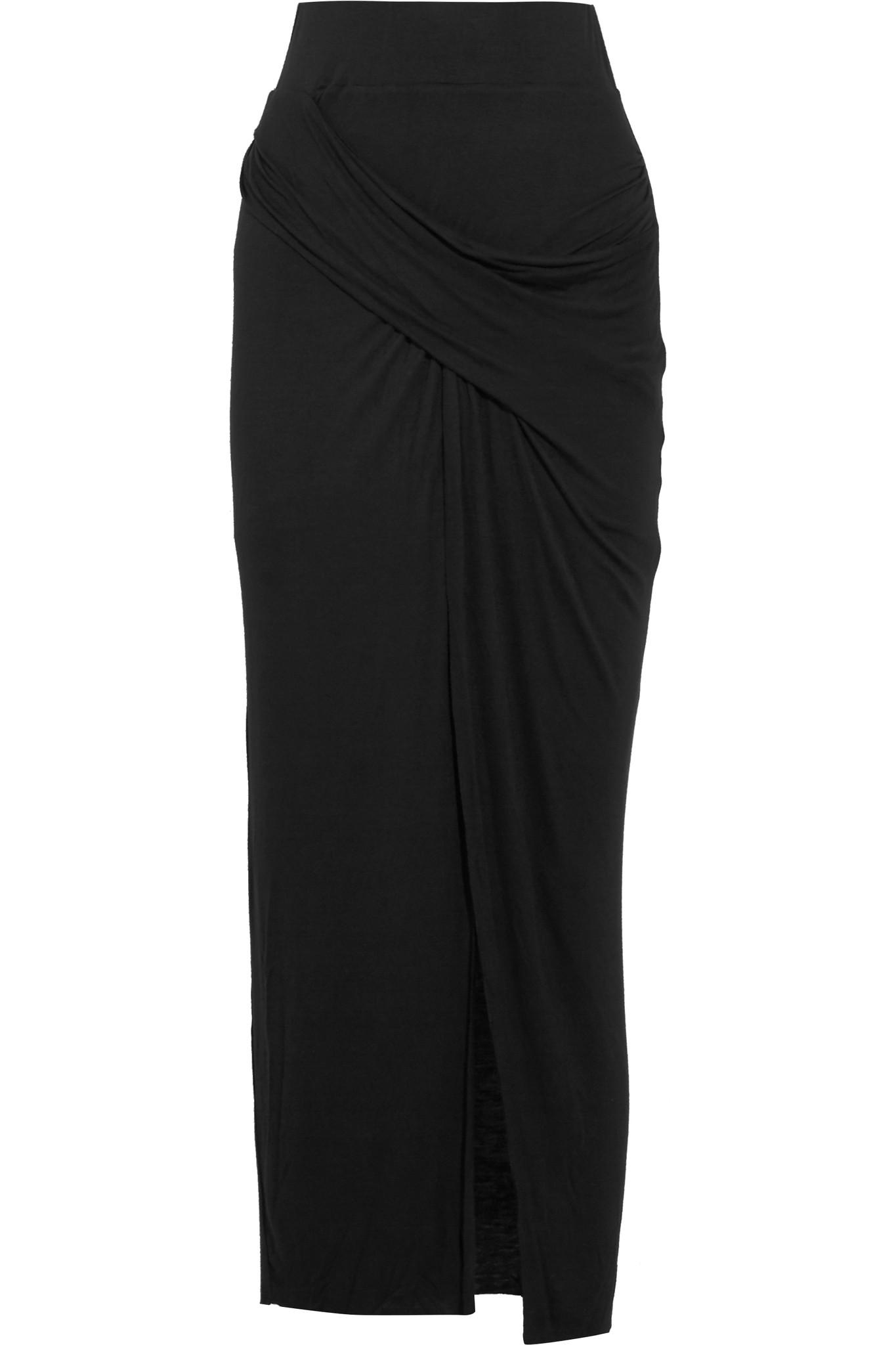 bailey 44 wrap effect stretch jersey maxi skirt in black