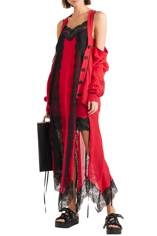 b8131d83533e Christopher Kane - Woman Lace-trimmed Silk-chiffon Dress Red - Lyst. View  fullscreen