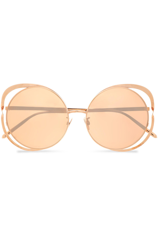 eb306c29ebb66 Linda Farrow Woman Round-frame Cutout Rose Gold-tone Sunglasses Rose ...