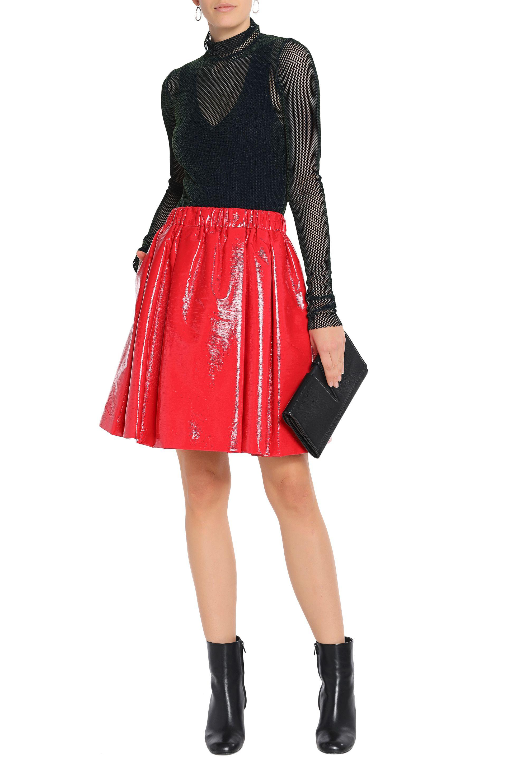 bec785d152 MSGM Pleated Faux Patent-leather Skirt in Red - Lyst