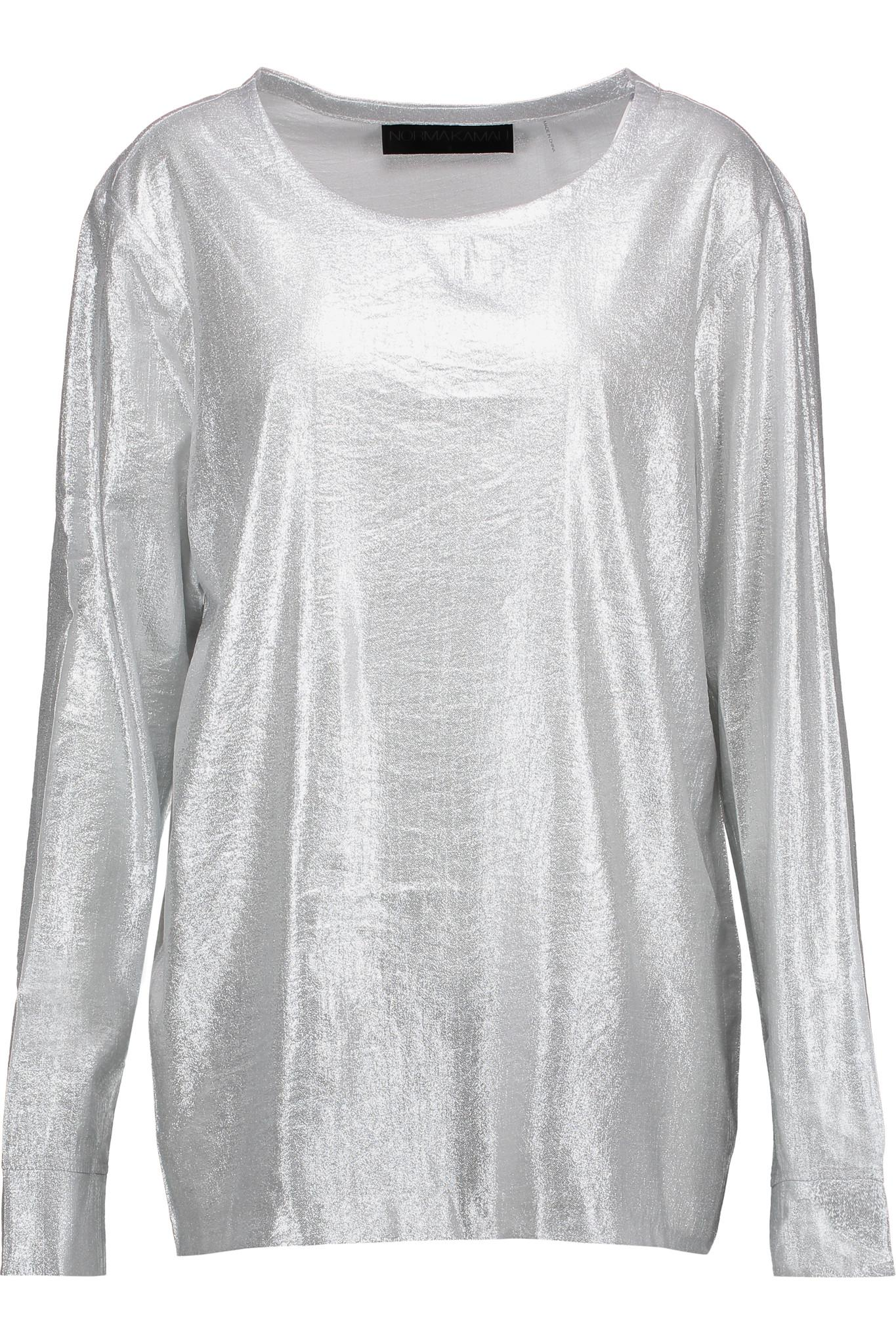 33a963da Norma Kamali Lamé Top in Metallic - Lyst