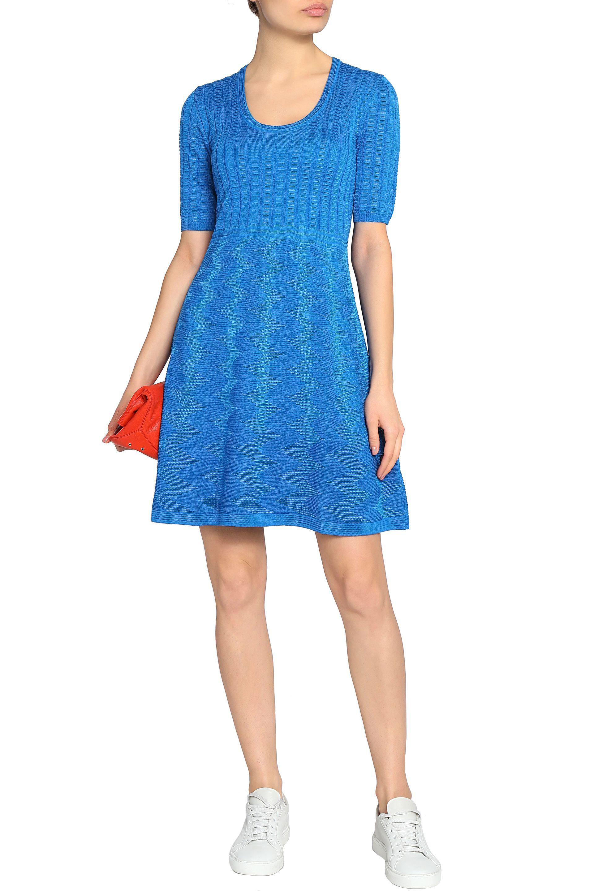 M Missoni - Blue Crochet-knit Wool-blend Dress - Lyst. View Fullscreen