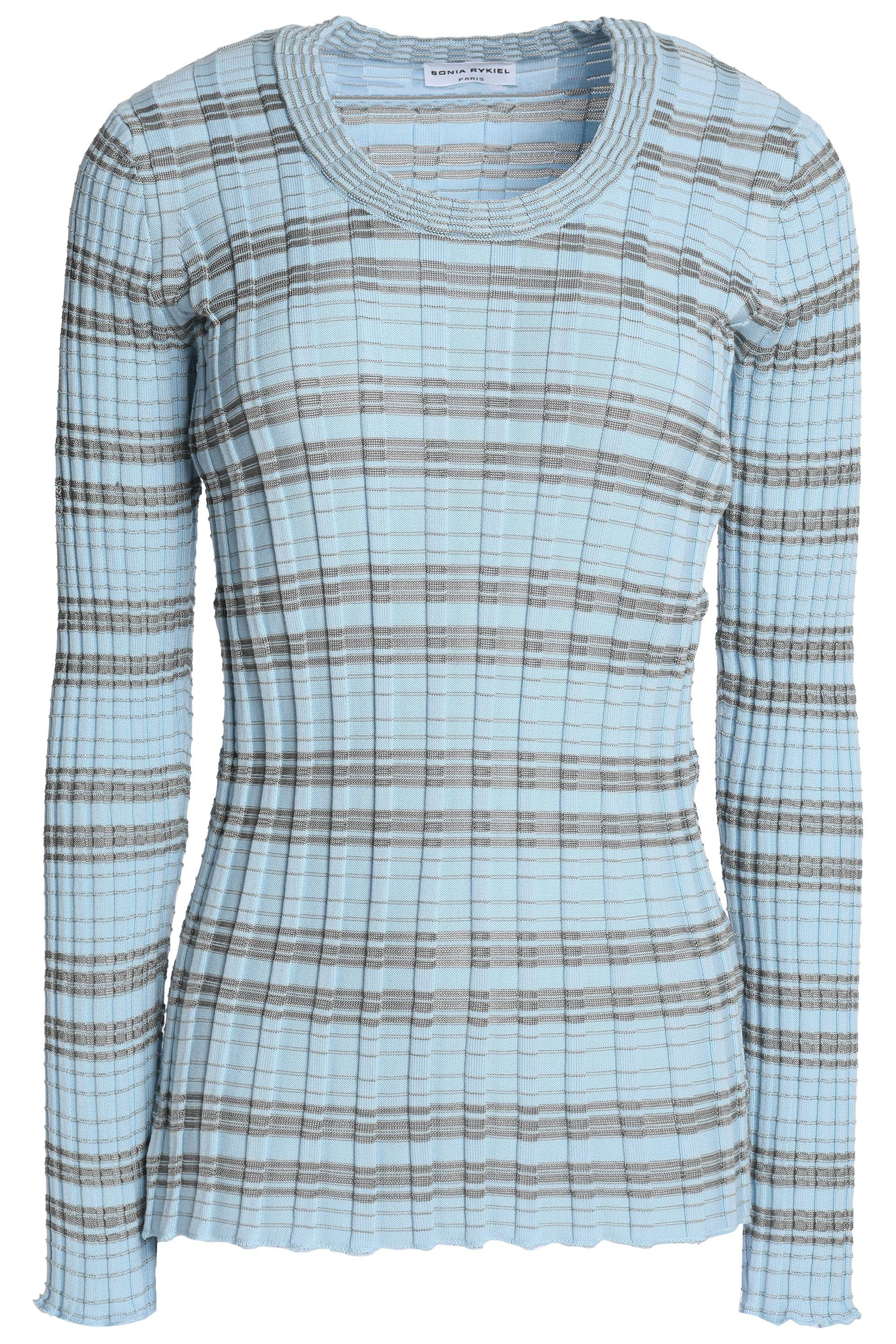 Clearance Best Seller Sonia Rykiel Woman Striped Ribbed Cotton-blend Sweater Sky Blue Size XL Sonia Rykiel Buy Cheap Pictures Buy Cheap Comfortable Buy Cheap Supply w2Qlle