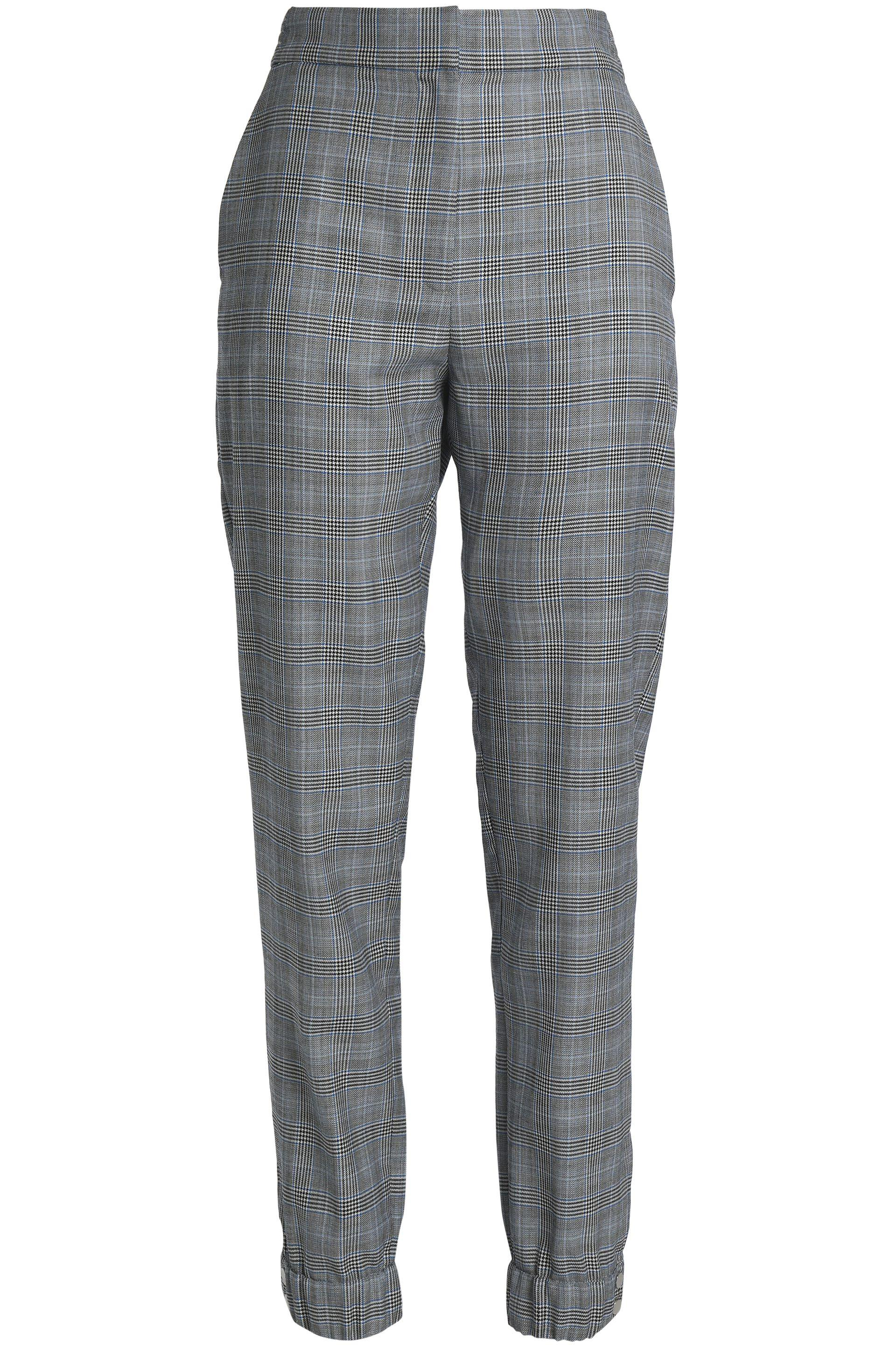 7675c8e978 Women's Gray Prince Of Wales Checked Wool And Silk-blend Tapered Trousers  Grey