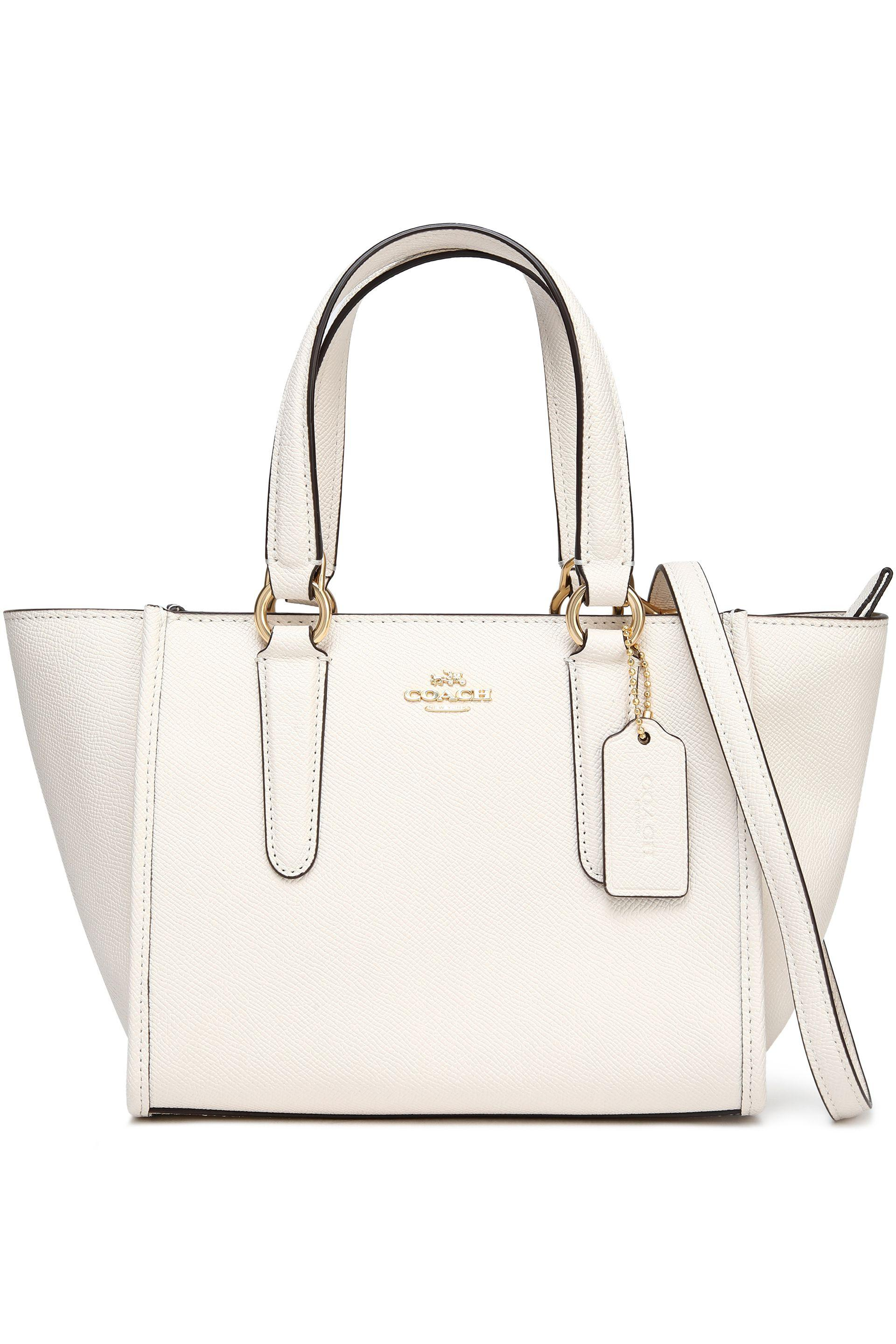 36275352ac8b9 ... real coach textured leather tote in white lyst 7866b 6b368