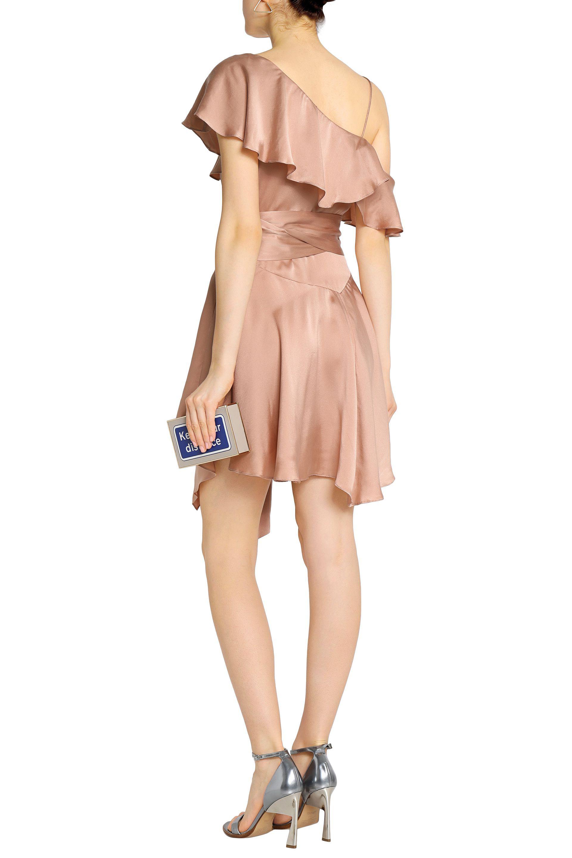 Zimmermann Asymmetric Ruffled Washed Silk Wrap Mini Dress