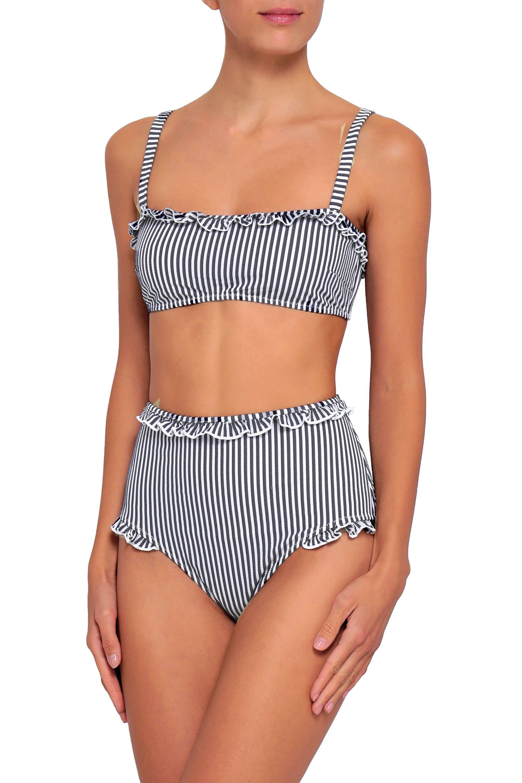dd73296cd9 ... Leslie Ruffle-trimmed Striped Seersucker Bikini Top Anthracite. View  fullscreen