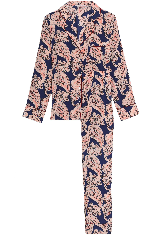 Lyst - Stella McCartney Poppy Snoozing Printed Stretch-silk Pajama ... f5c867a8b