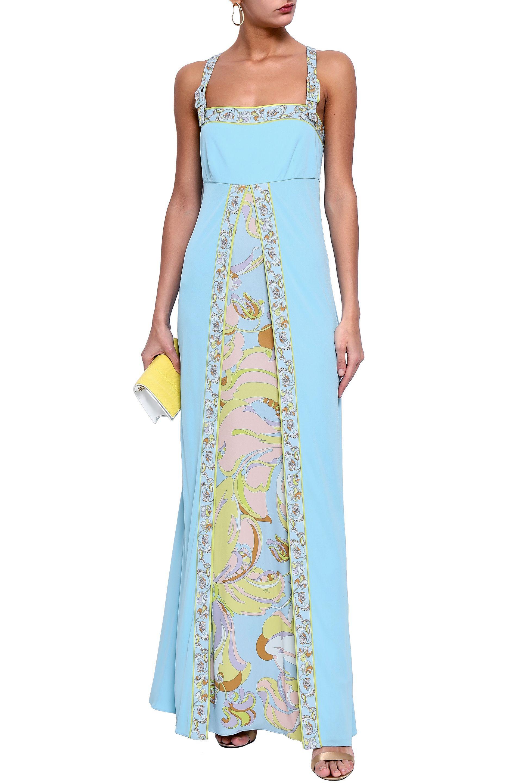 fb10e3e66d95f Emilio Pucci - Woman Printed Stretch-jersey Maxi Dress Sky Blue - Lyst.  View fullscreen