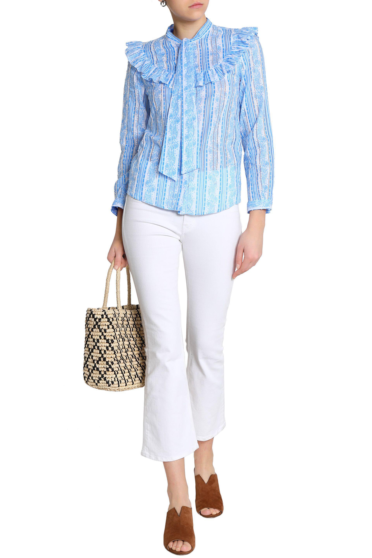 Claudie Pierlot Woman Pussy-bow Ruffle-trimmed Printed Swiss-dot Cotton Blouse Azure Size 40 Claudie Pierlot Sale Shop Offer Buy Cheap Shopping Online Shop For Sale oBhWkBx6