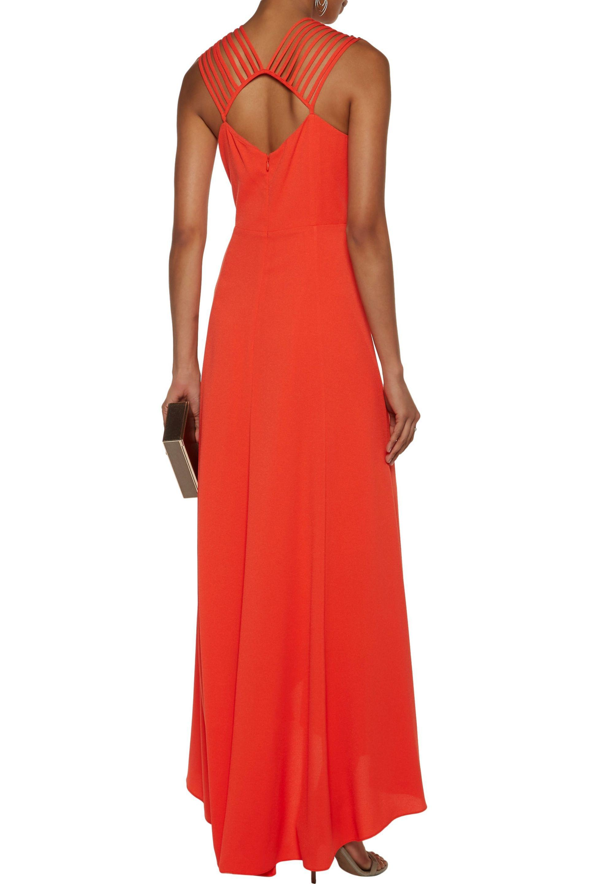 Halston Heritage | Asymmetric Embellished Crepe Gown Bright Orange | Lyst.  View Fullscreen
