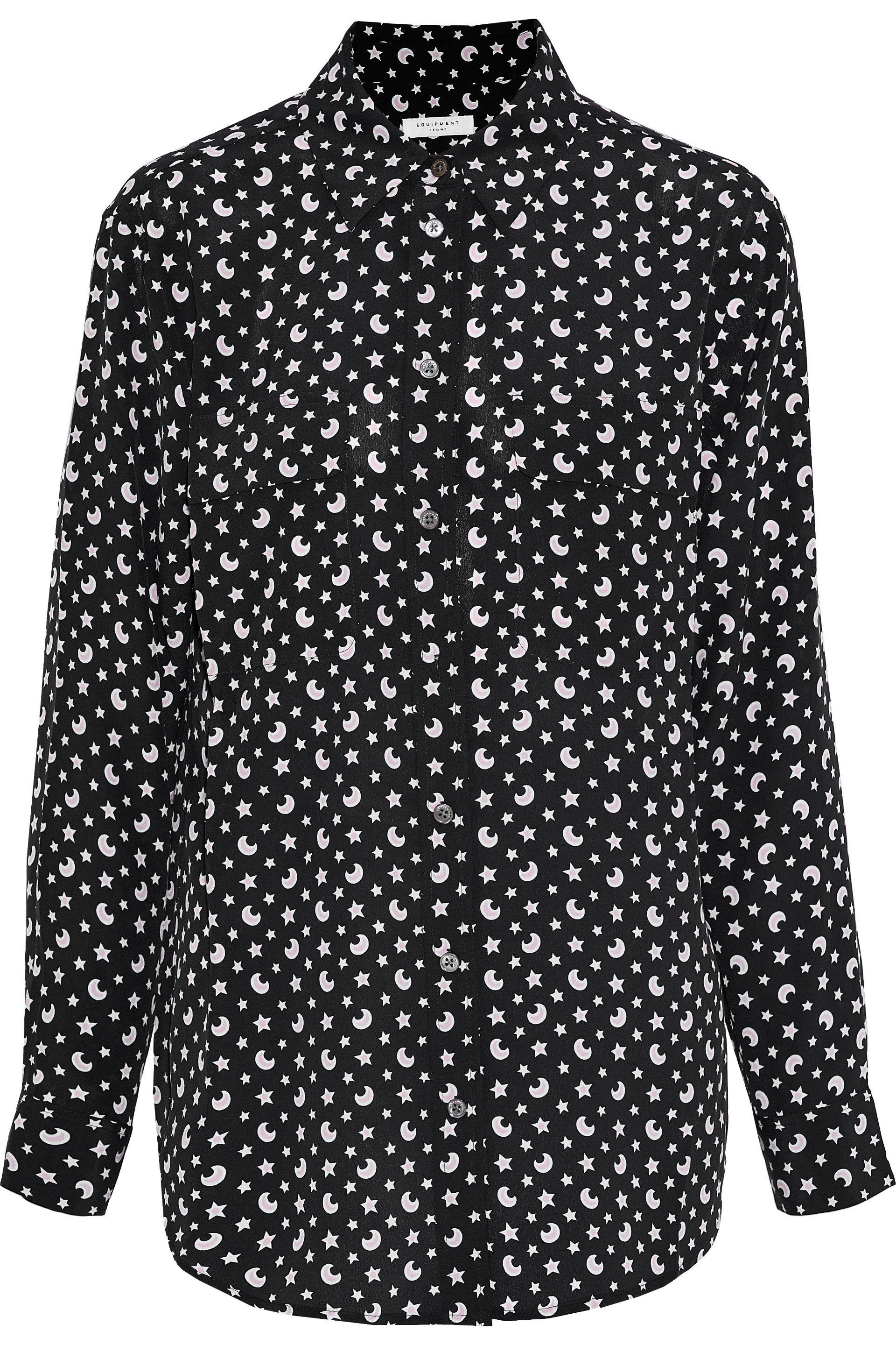 0b606e7d94d64 Lyst - Equipment Woman Signature Printed Washed-silk Shirt Black in ...