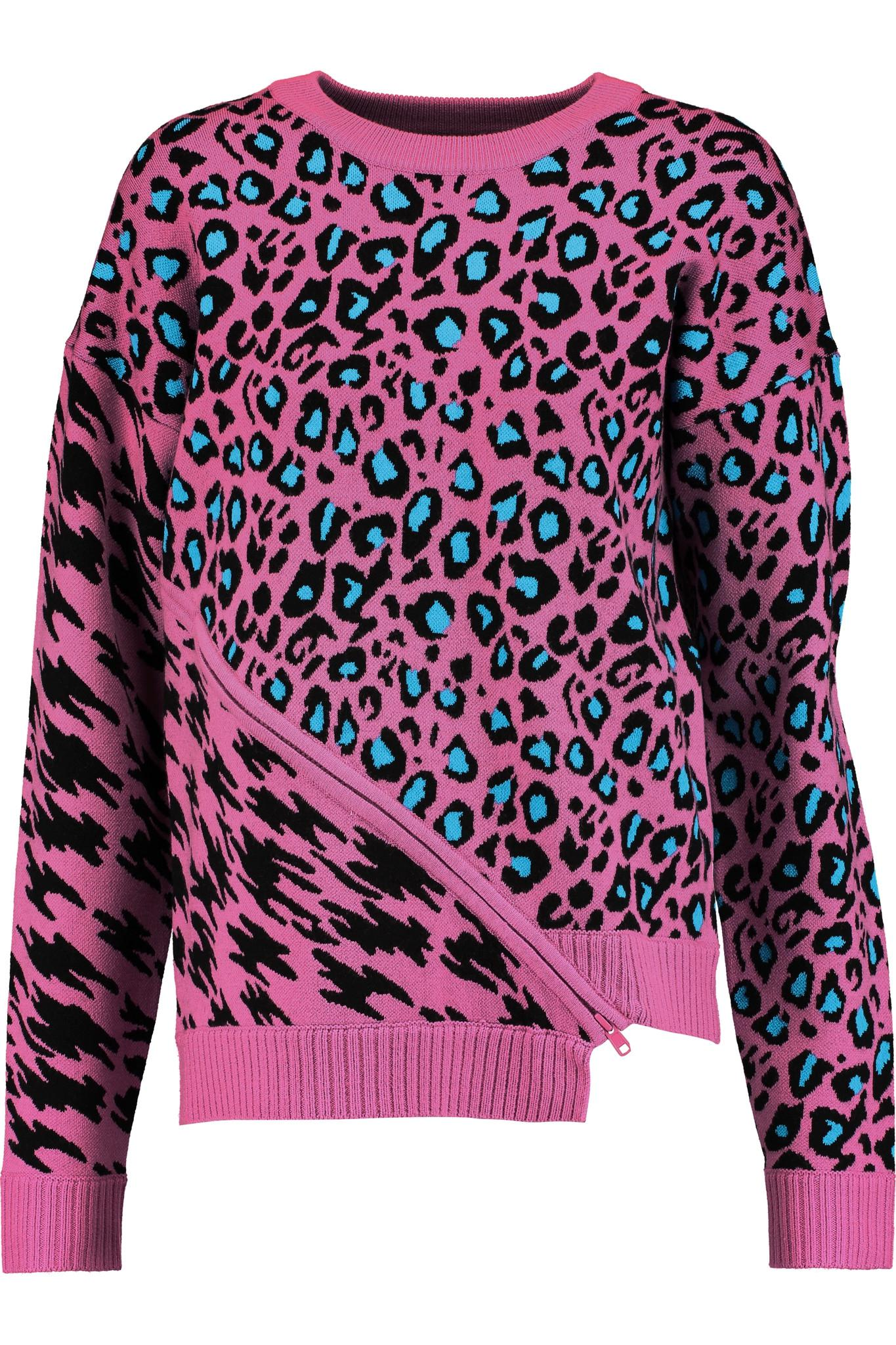 Opening ceremony Leopard-intarsia Stretch-knit Sweater in Pink | Lyst