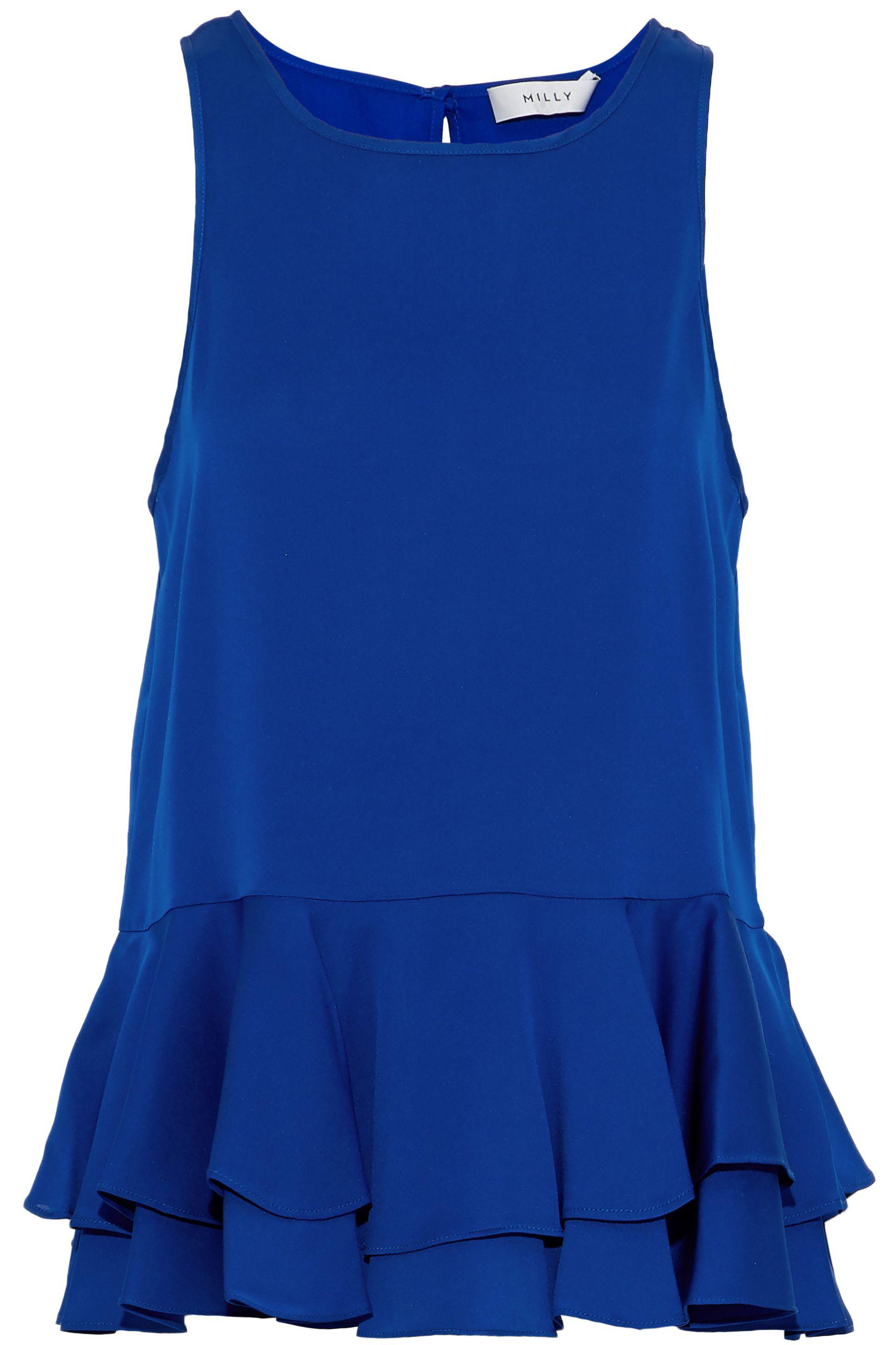 Milly Woman Ruffled Stretch-silk Crepe De Chine Peplum Blouse Cobalt Blue Size 6 Milly Cheap Sale Outlet Popular Outlet Pre Order a7n1mw