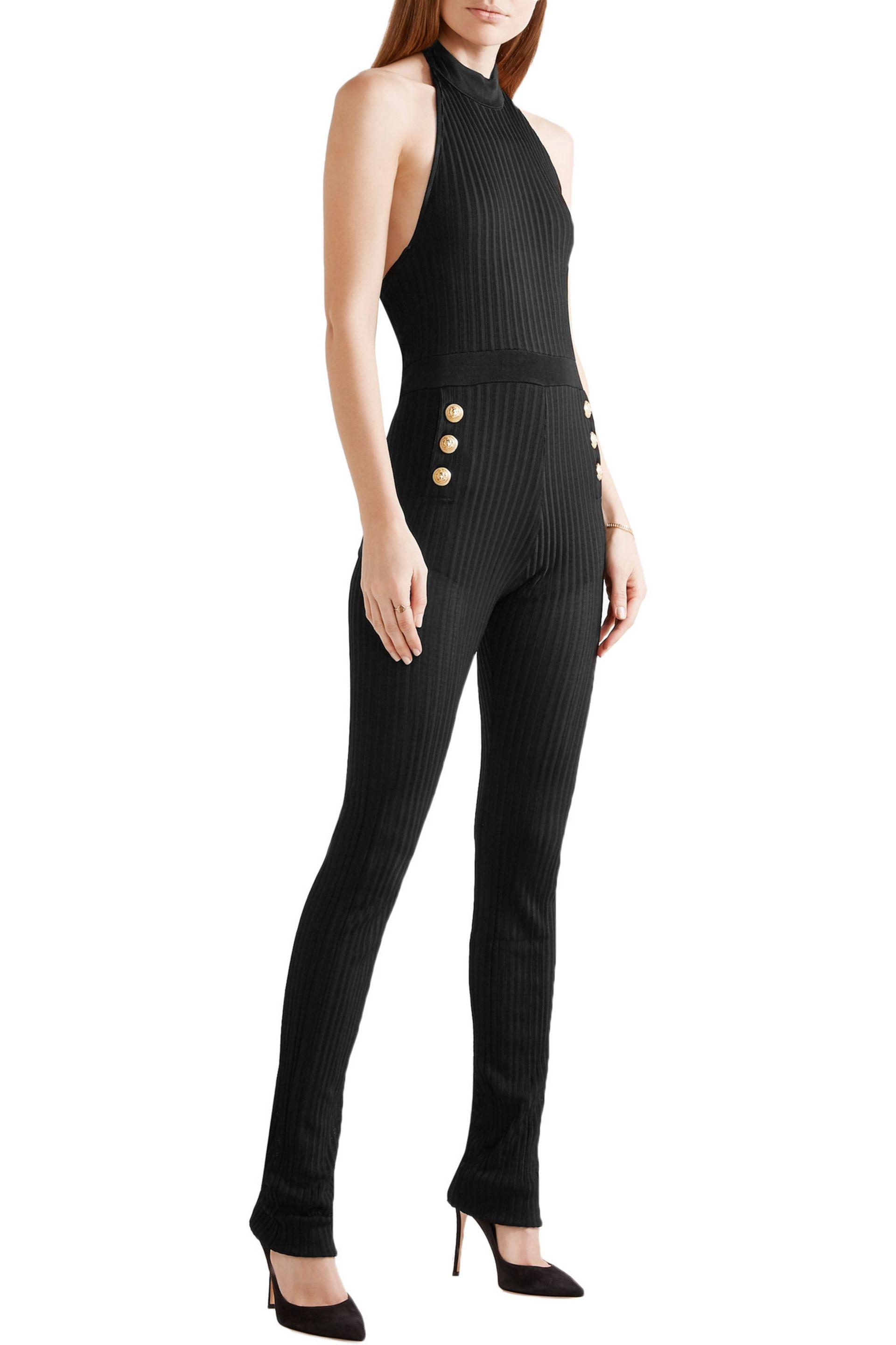 27d0731ad3a Lyst - Balmain Ribbed Stretch-knit Halterneck Jumpsuit in Black