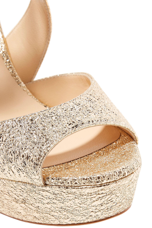 318bd31ddaea Jimmy Choo - Multicolor Woman April 120 Metallic Cracked-leather Platform  Sandals Platinum - Lyst. View fullscreen